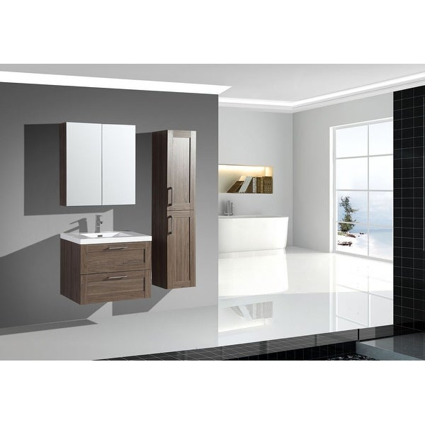 The Cosmo Elm Collection 30 Inch Floating Modern Bathroom Vanity. Opens flyout.