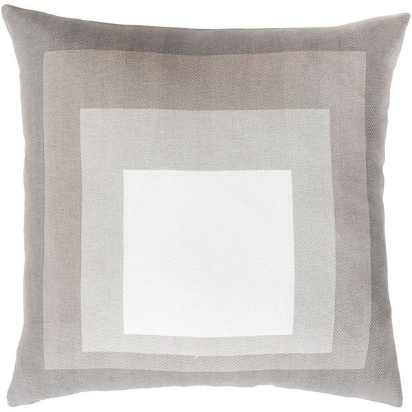 """18"""" White and Gray Geometric Designed Square Indoor Decorative Throw Pillow - Down Filler"""