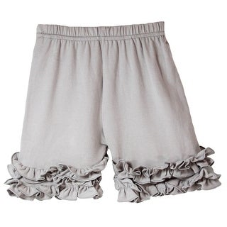 Girls Grey Elastic Waist Ruffle Bottom Icing Boutique Shorts (More options available)