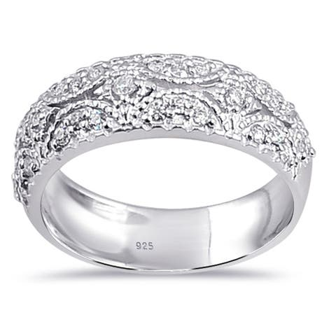 Moissanite Sterling Silver Round Band Ring by Sparklezz