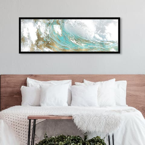 Oliver Gal 'Wave in a Moment Aqua' Abstract Framed Wall Art Prints Paint - Blue, Gold