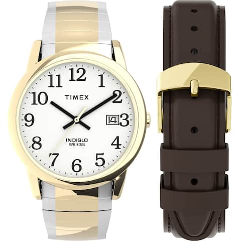 Timex Men's Easy Reader 35mm Watch Box Set - Two-Tone/White/Brown Expansion & Leather Strap - One Size