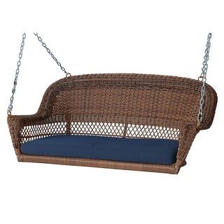 """51.5"""" Hand Woven Honey Brown Resin Wicker Outdoor Porch Swing with Blue Cushion"""