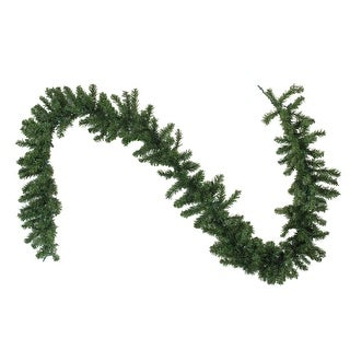 """9' x 10"""" B/O Pre-Lit LED Canadian Pine Artificial Christmas Garland with Timer - Clear Lights - green"""
