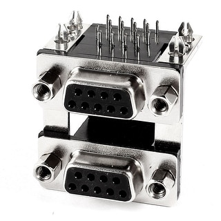 Unique Bargains Dual Twin 2 Port DB9 RS-232 RS232 Serial 9 Pin Female Adapter D-sub Connector