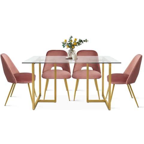 glass 5-piece dining set modern mid-century velvet kitchen table set