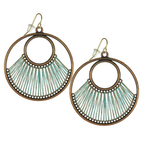 Teal or Purple Boho Style Large Round Threaded Earrings