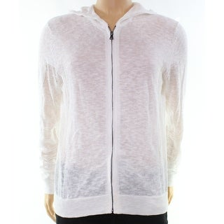 INC NEW Bright White Mens Size 2XL Full Zip Lightweight Hooded Sweater