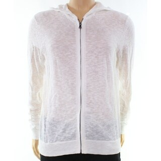 INC NEW White Pure Mens Size Medium M Burnout Hooded Full Zip Sweater