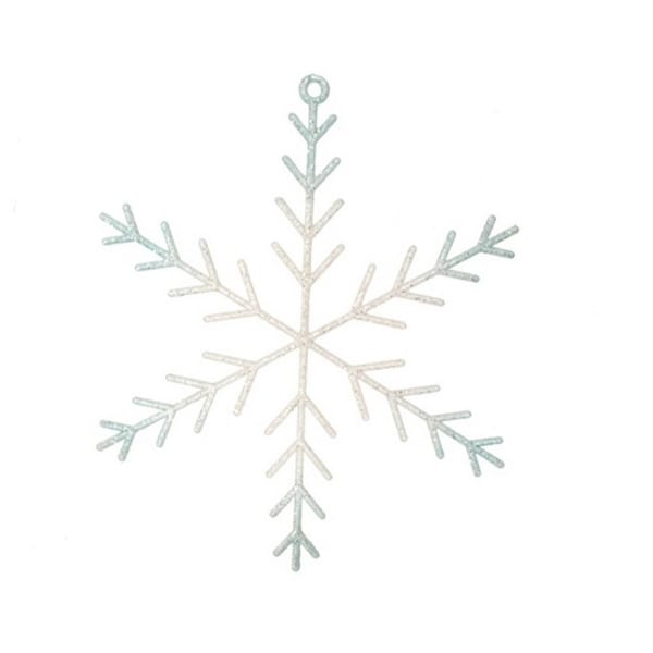 "10.5"" Ice Palace White and Frosted Blue Glittered Snowflake Christmas Ornament"