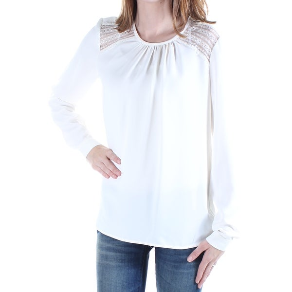 0dce24ed83a Shop Womens Ivory Cuffed Jewel Neck Casual Blouse Top Size 12 - On Sale -  Free Shipping On Orders Over  45 - Overstock.com - 21386058