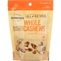 Woodstock Cashews - Roasted - Unsalted - Case of 8 - 7 oz.