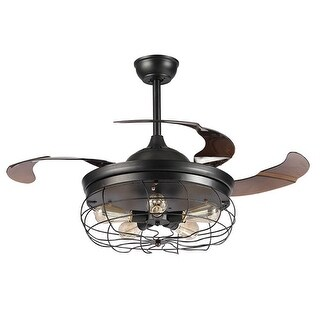 42.5-inch Industrial Foldable 4-Blades 5-Light Ceiling Fan with Remote