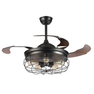Awesome 42.5 Inch Industrial Foldable 4 Blades Cage Ceiling Fan With 5 Light