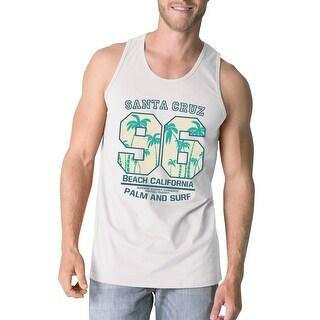 Santa Cruz Beach California Men White Graphic Tank Top Lightweight