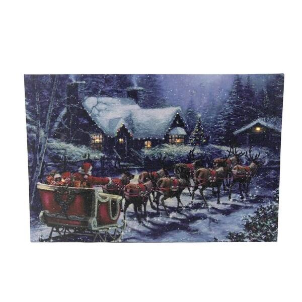 "LED Lighted Santa Claus in Sleigh Christmas Canvas Wall Art 15.75"" x 23.5"" - Blue"