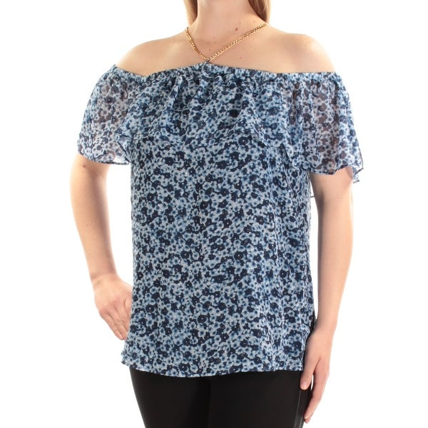 d68b5bca286a Shop MICHAEL KORS Womens Blue Cold Shoulder Floral Short Sleeve Halter Top  Size  XL - Free Shipping On Orders Over  45 - Overstock - 23457237