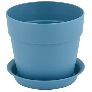 Home Balcony Plastic Round Design Flower Cactus Plant Planter Pot Tray Teal Blue