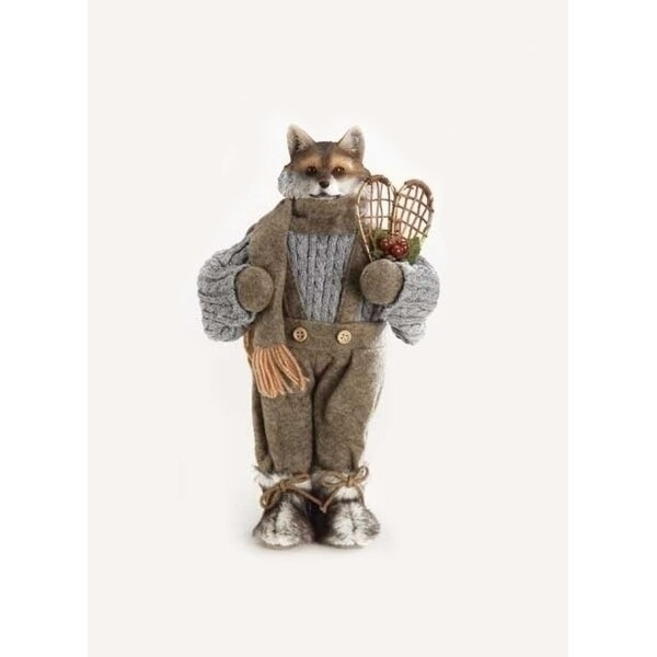 """14.5"""" Woodland Lodge Fox Christmas Figure with Vintage Style Wooden Snowshoes"""