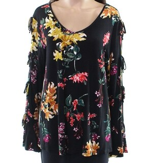 Cupio Black Women's Size XL Floral Tie Sleeve V-Neck Blouse