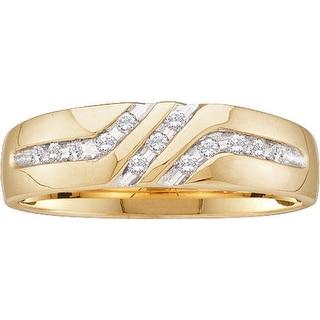 10k Yellow Gold Round Natural Channel-set Diamond Mens Anniversary Wedding Band 1/10 Cttw - White