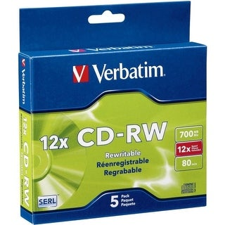 Verbatim 95157 Verbatim CD-RW 700MB 4X-12X High Speed with Branded Surface - 5pk Slim Case