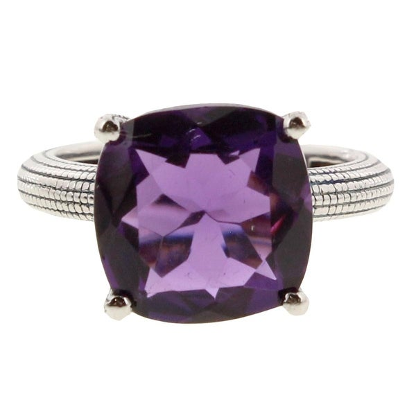 SuperJeweler Womens Right-Hand Ring Amethyst Sterling Silver - Purple/Silver