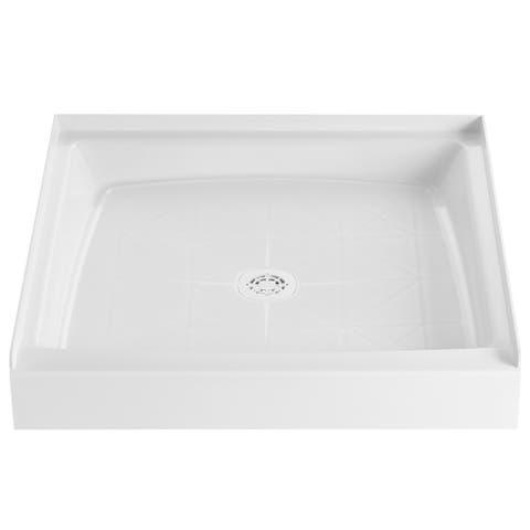 "PROFLO PFSB3434 34"" x 34"" Single Curb Slip Resistant Shower Pan for - White"