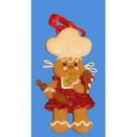 Gingerbread Kisses Cookie Girl with Chef Hat Christmas Ornament 4""