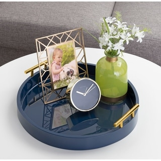 Link to Kate and Laurel Lipton Round Decorative Tray with Metal Handles Similar Items in Accent Pieces