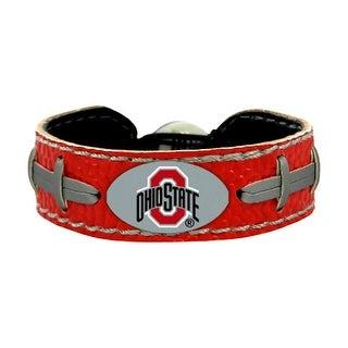 Ohio State Buckeyes Team Color NCAA Gamewear Leather Football Bracelet