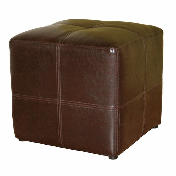 Carson Bonded Leather Upholstery Dark Brown Ottoman