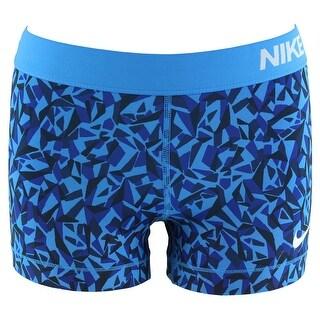 Nike Womens Pro Cool Three Inch Printed Compression Shorts Blue - Blue/Black