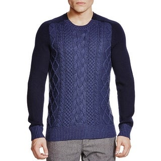 Bloomingdales Mens Merino Wool Cable Knit Sweater Medium M Heather Navy Combo