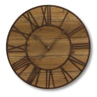 """Pack of 2 Wooden and Metal Roman Numerals Decorative Round Wall Clocks 23.5"""" - brown"""