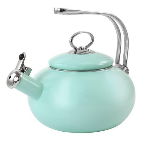 Martha Stewart Enamel on Steel 1.5 Quart Stovetop Tea Kettle in Mint