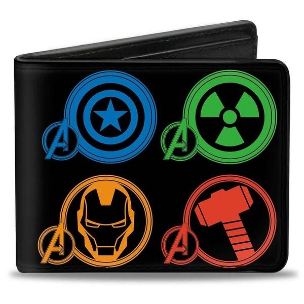 Marvel Avengers Marvel Avengers Superhero Logos Black Multi Color Bi Fold Bi-Fold Wallet - One Size Fits most