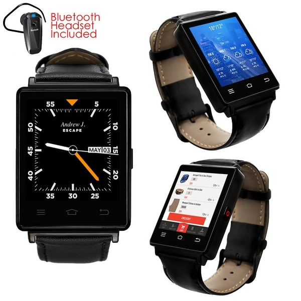 Indigi® NEW 2017 3G Android 5.1 Smart Watch Phone (GSM Factory Unlocked) Maps + WiFi + GPS + Google Play + Bluetooth Bundle
