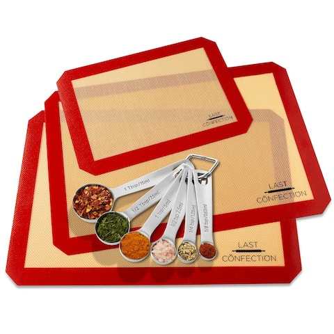 9pc Silicone Baking Mat and Measuring Spoon Set - Last Confection - 2 Half Sheet + 1 Quarter Sheet