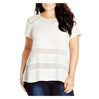 City Chic Womens Plus Casual Top Ladder Insert Short Sleeves