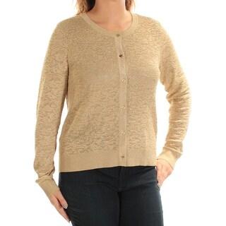 MICHAEL KORS $135 Womens New 1224 Gold Metallic Button Up Sweater L B+B