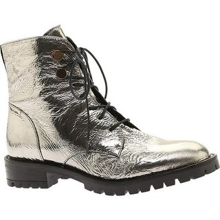 Kenneth Cole New York Women's Francesca Combat Boot Pewter Patent Leather