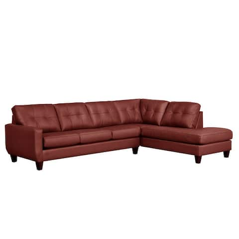 Gibson Top-Grain Leather Tufted Sectional Sofa