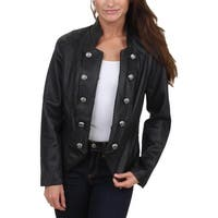 Nanette Lepore Womens Bomber Jacket Faux Leather Lapel