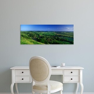 Easy Art Prints Panoramic Images's 'Trees in fields, Corton Denham, Somerset, England' Premium Canvas Art
