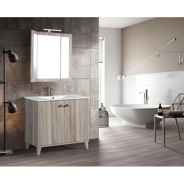 "Swiss Madison SM-BV343 Éclair 36"" Free Standing Single Basin Vanity Set with MDF Cabinet and Ceramic Vanity Top - Wax Oak"