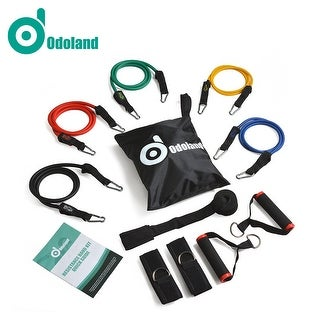 ODOLAND Resistance Bands 11 pcs Heavy Duty Set with Superior Door Anchor Ankle Straps Exercise Guide Free Carry Case