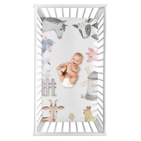 Farm Animals Collection Boy or Girl Photo Op Fitted Crib Sheet - Watercolor Farmhouse Horse Cow Sheep Pig