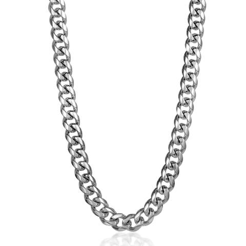 """Crucible Polished Stainless Steel 14mm Curb Chain Necklace 28"""""""