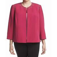 Kasper Pink Womens Size 14W Plus Studded Open-Front Crepe Jacket